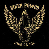 Biker power. Wheel with wings