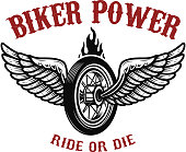 Biker power. Wheel with wings.