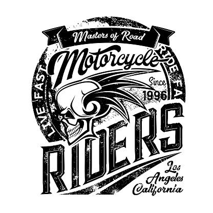 Biker riders club badge, skeleton skull wings