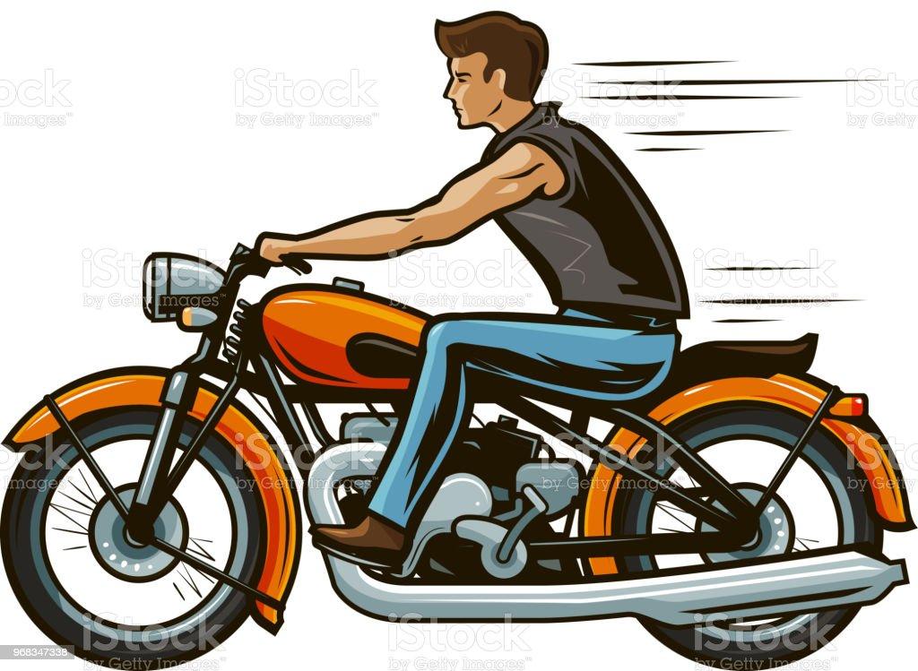 Ilustración De Biker Monta Una Motocicleta Moto Concepto De