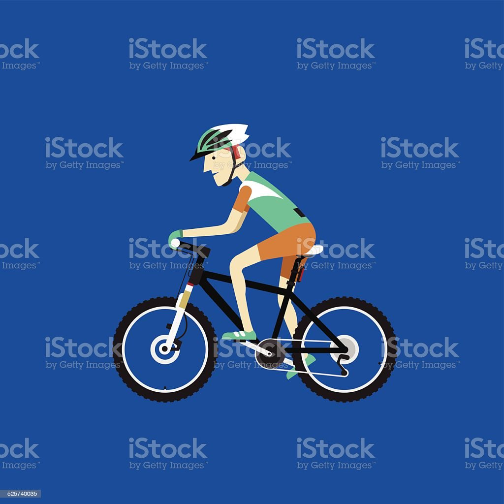 Biker riding a mountain bike, Vector illustration vector art illustration