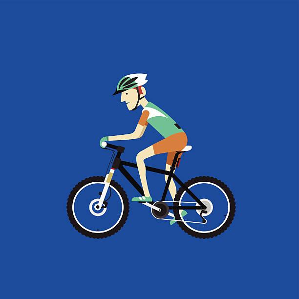 Biker riding a mountain bike, Vector illustration vector art illustration