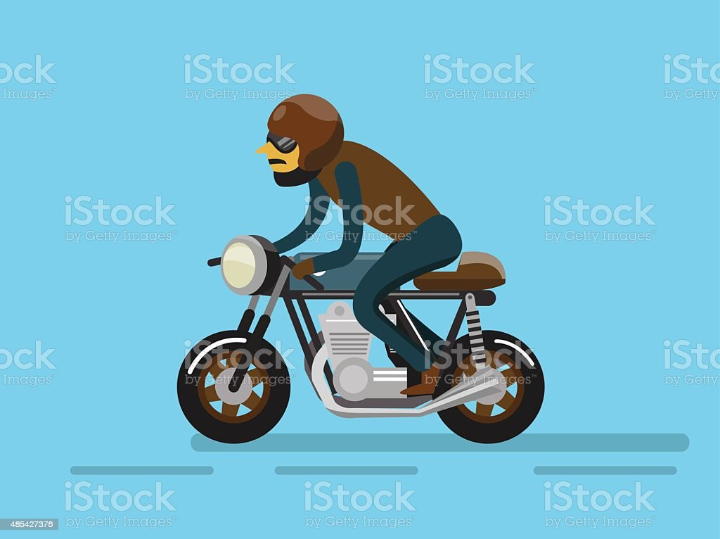 Biker riding motorcycle. vector art illustration