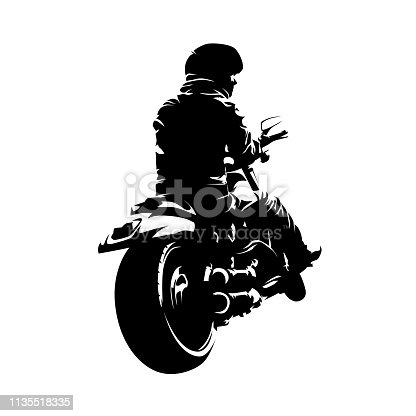 Biker sitting on chopper motorcycle. Rear view. Isolated ink drawing, vector silhouette