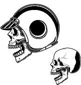 Biker skull in racer helmet. For label, sign, poster, card. Vector image