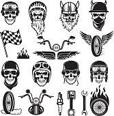 Biker symbols. Skull bike flags wheel fire bones engine motorcycle vector silhouettes