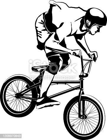 boy on BMX bike - black and white vector illustration