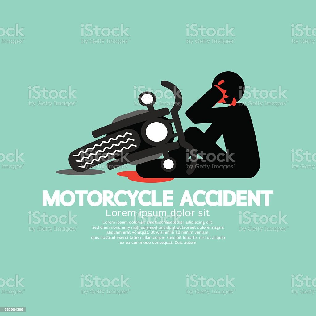 Biker With Motorcycle Have In An Accident vector art illustration