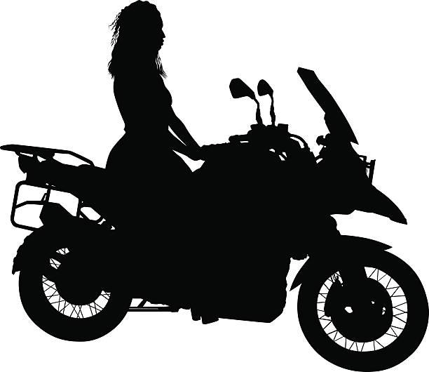 Biker women on white background vector art illustration