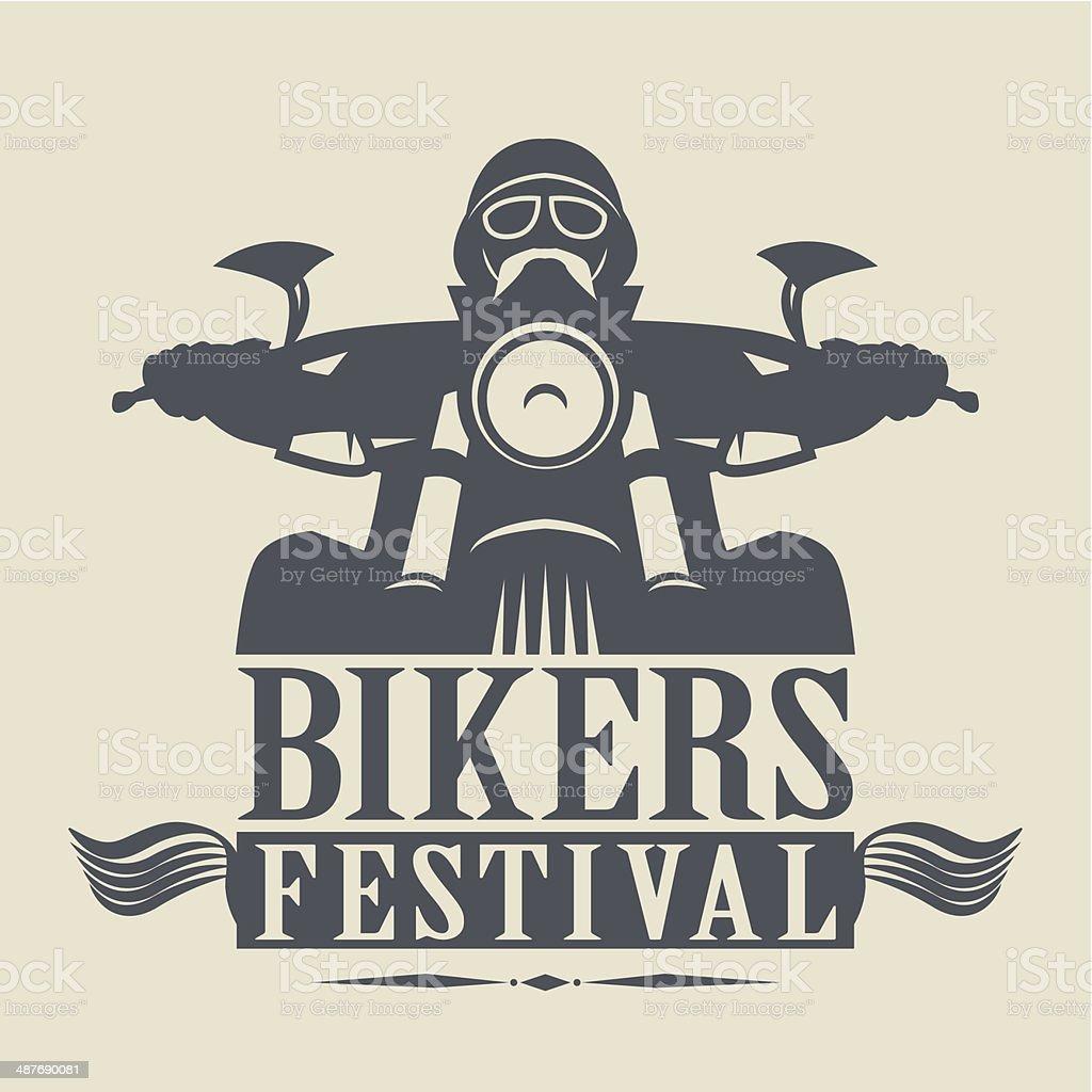 Bikers Festival label vector art illustration