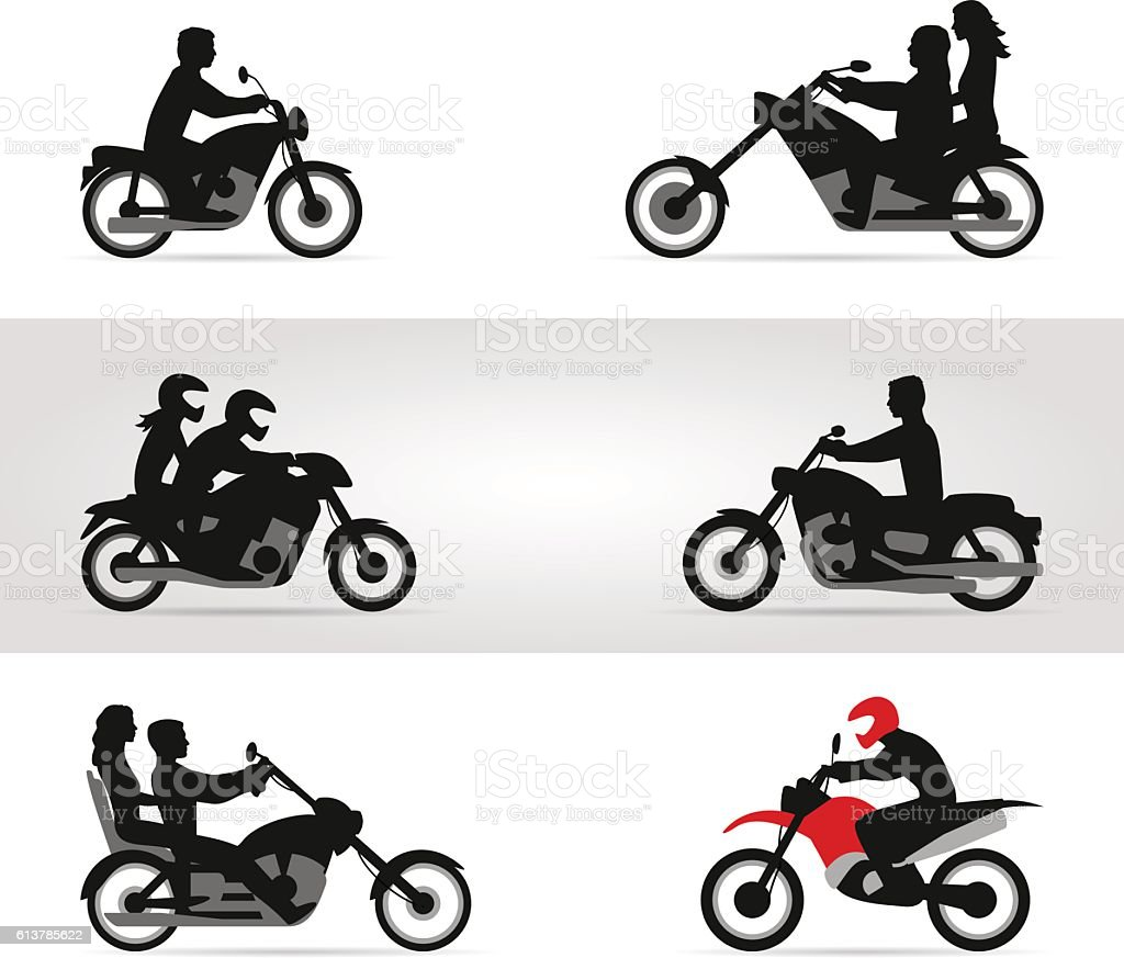 Bikers on motorcycles vector art illustration