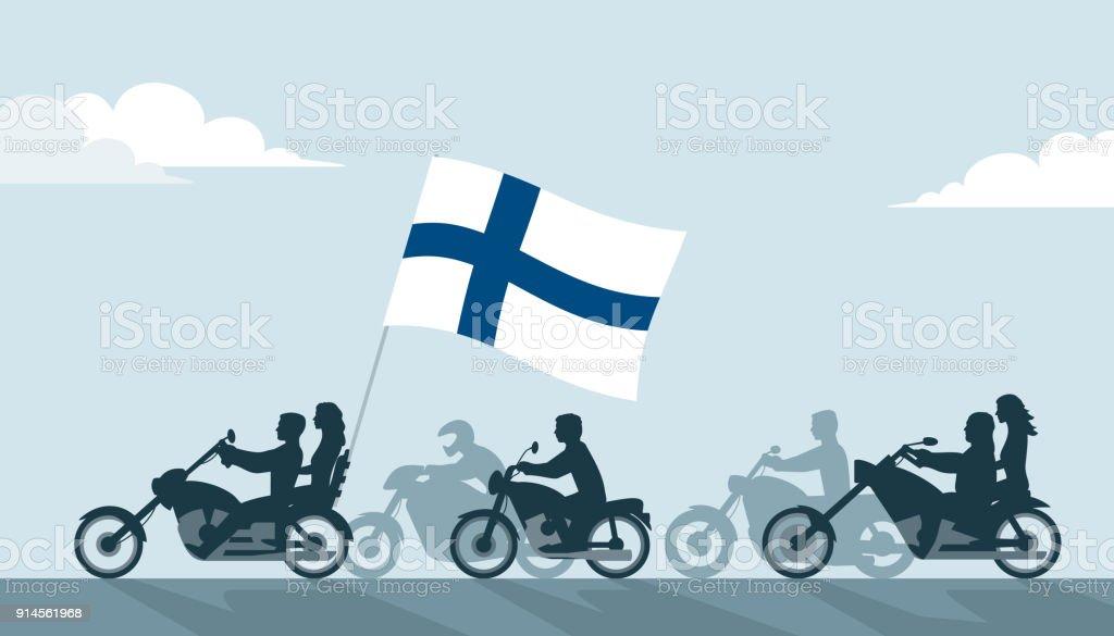 Biker auf Motorrädern mit Finnland Flagge – Vektorgrafik