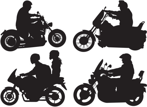 bikers, riders - silhouettes