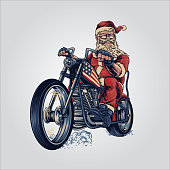 bikers Santa claus merry Christmas cooper riding motorcycle American flag for your work advertising and clothing line, stickers merchandise