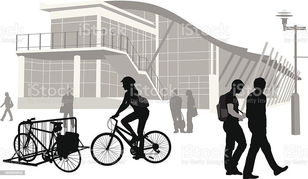 Bikes On Campus Vector Silhouette vector art illustration