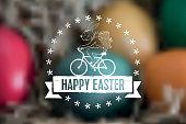 biking line art easter bunny label  on blurred easter nest