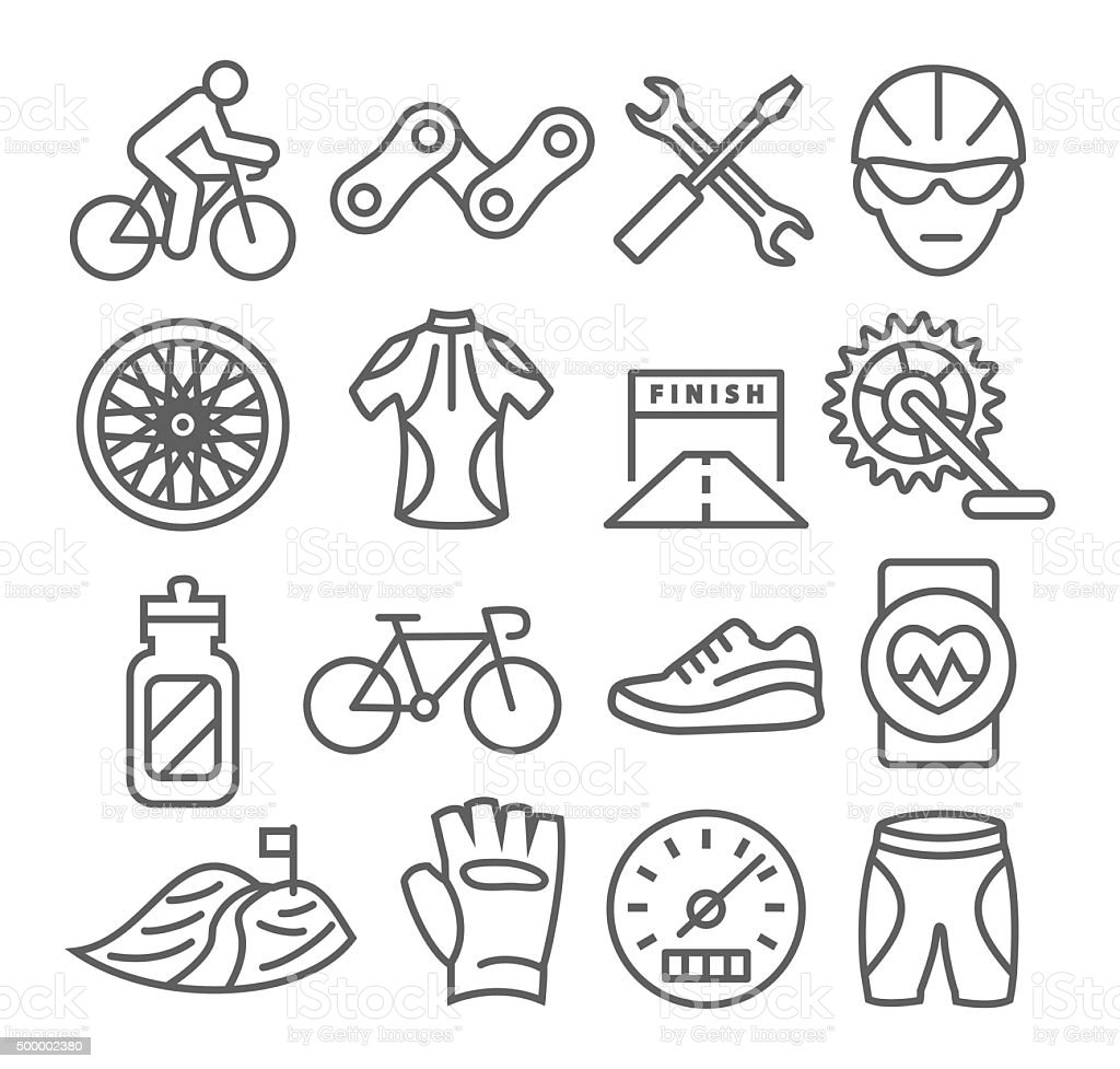 Biking Line Icons vector art illustration