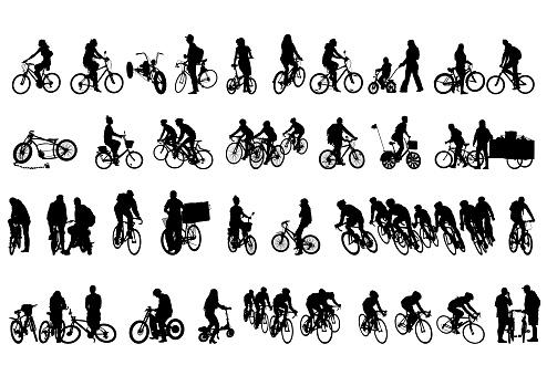 Biking people on white
