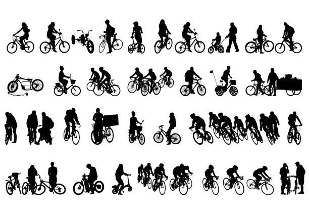 bildbanksillustrationer, clip art samt tecknat material och ikoner med cykling personer på vit - cykla