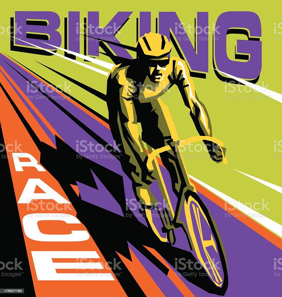biking race vector poster vector art illustration