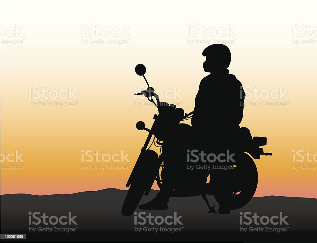 Biking Sunset Vector Silhouette royalty-free stock vector art