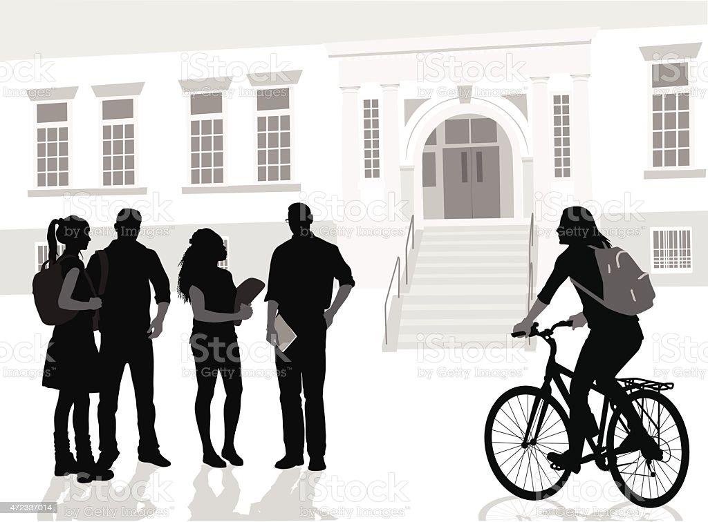 Biking To School vector art illustration