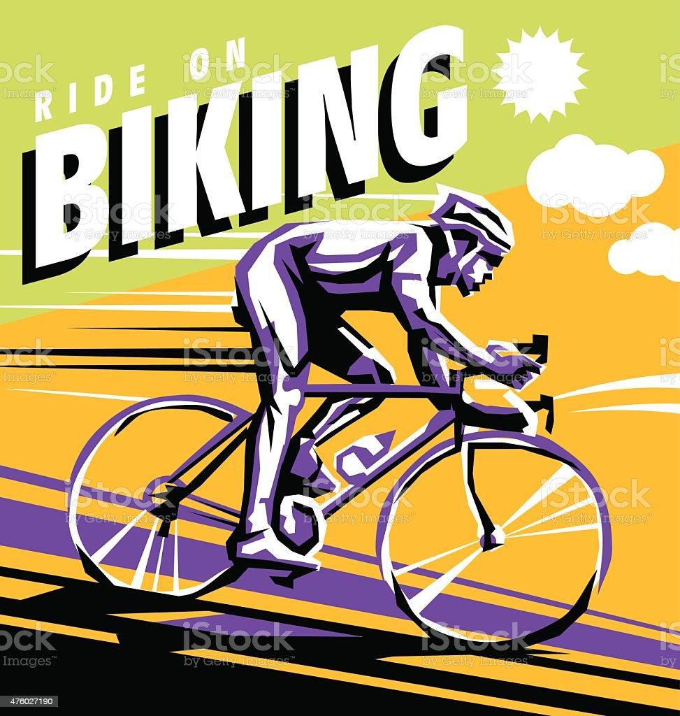 biking vector poster vector art illustration
