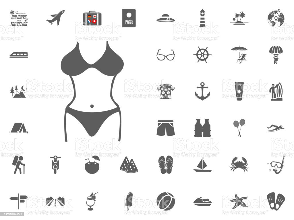 ffcae33c0b Bikini Swimming Suit Icon Summer Holidays And Traveling Vector Icons ...