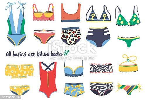 Set of isolated one piece and two piece swimsuits. Hand drawn colorful bikini collection. Stylish swimwear with bikini tops and bottom panties on white background.