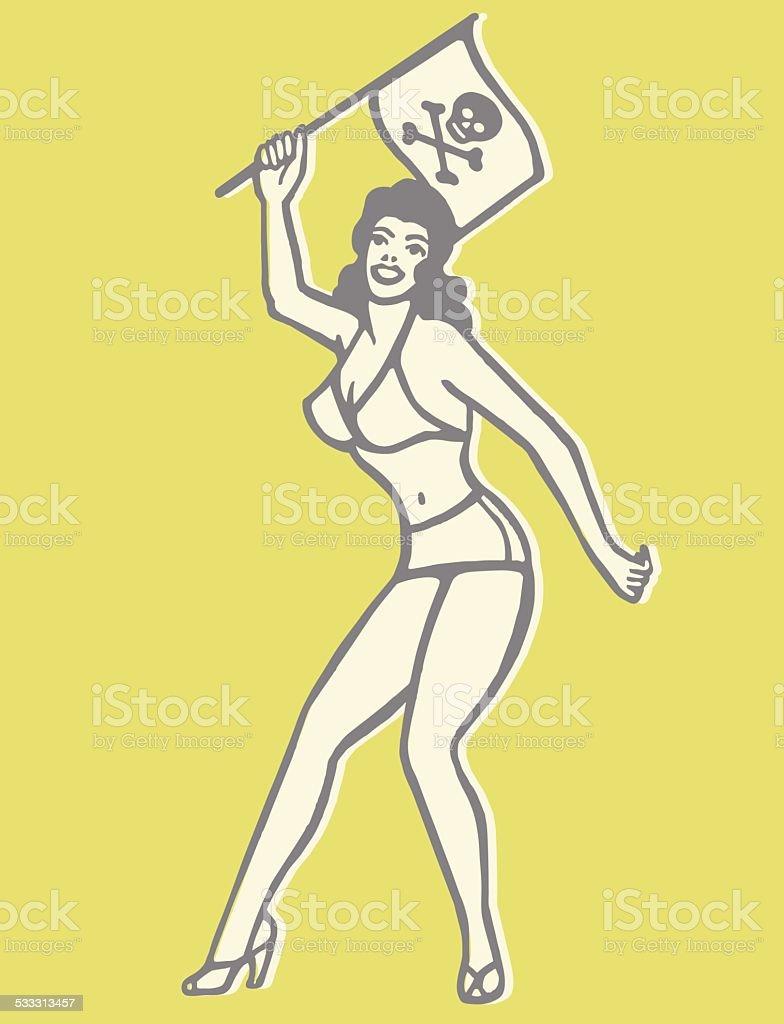 Bikini Woman Holding Jolly Roger vector art illustration