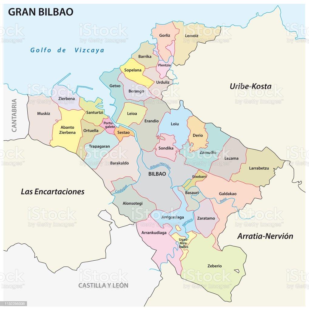 Mapa De Bilbao España.Ilustracion De Mapa Vectorial Administrativo Y Politico Del