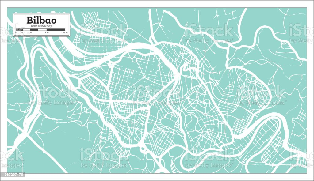 Mapa De Bilbao España.Ilustracion De Mapa De La Ciudad De Bilbao Espana En Estilo