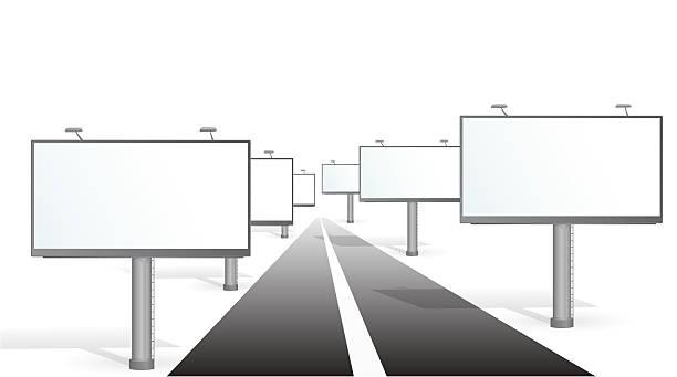 Bilboards near road vector art illustration