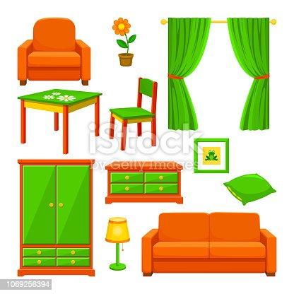 istock Bild på olika möbler man hittar i ett vanligt hem 1069256394
