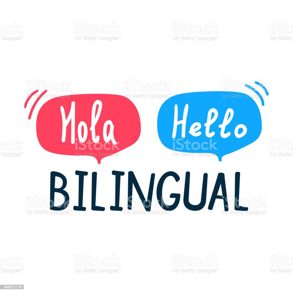 Bilingual. Flat vector illustration on white background. vector art illustration