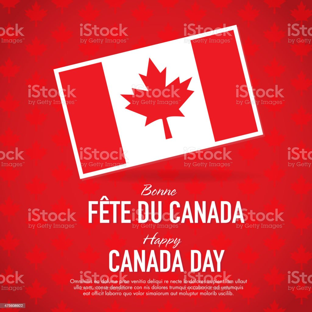 Bilingual Happy Canada Day Celebration Greeting Card Design Template
