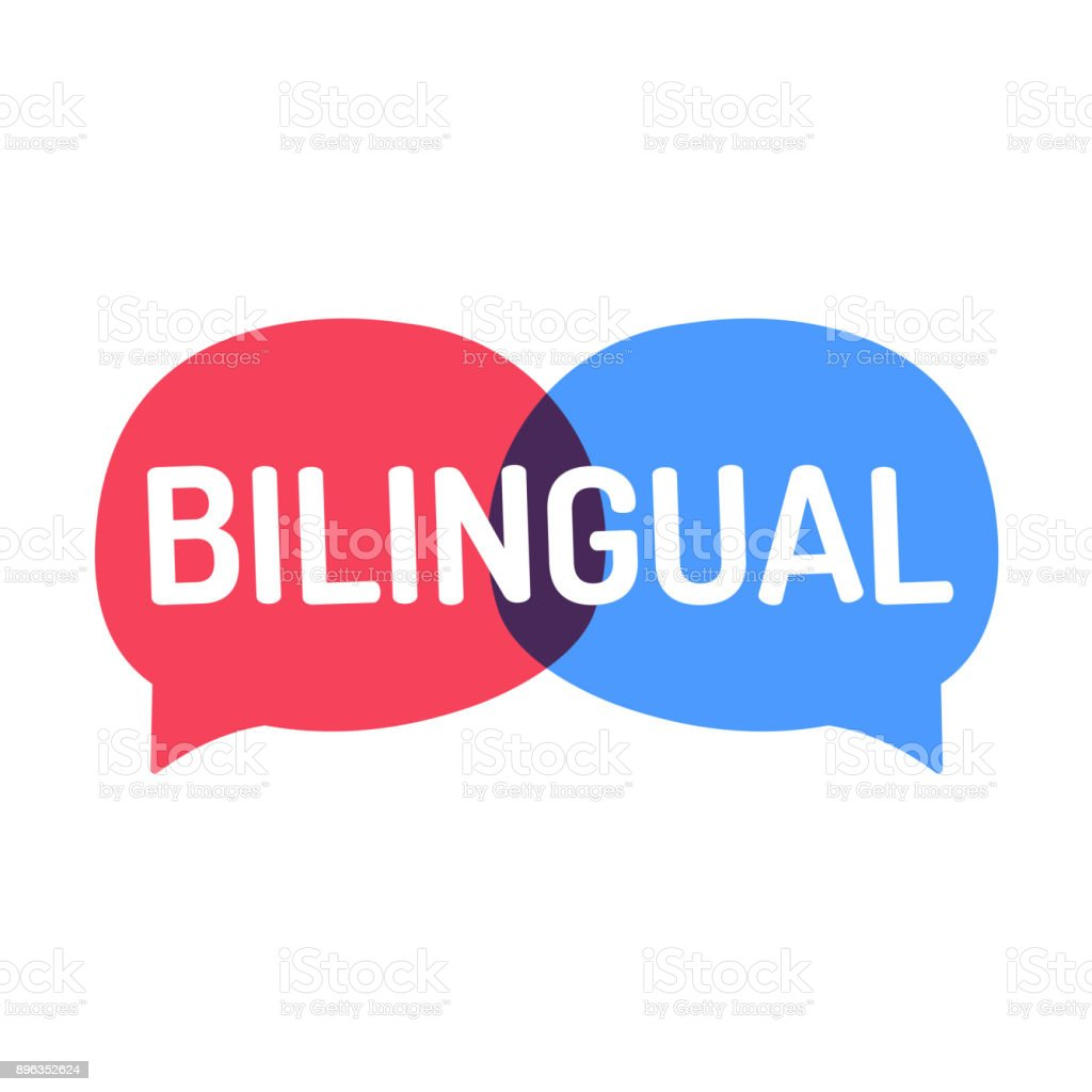 Bilingual. Two vector speech bubbles icons, illustration on white background. vector art illustration