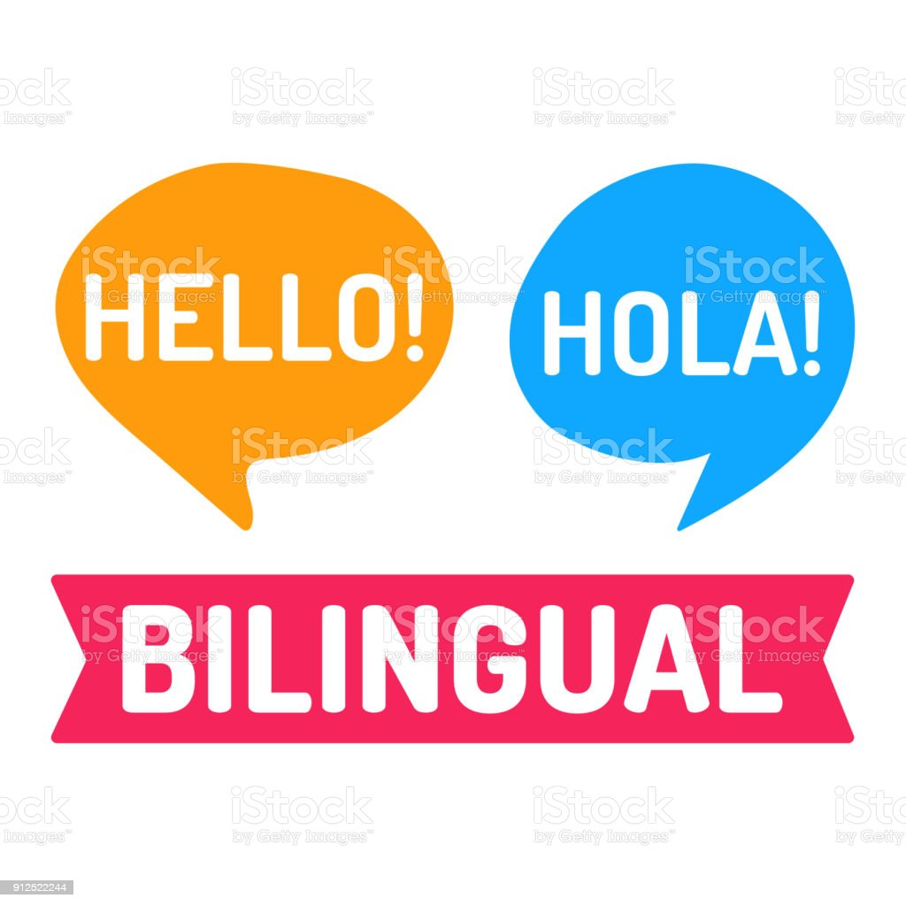 Bilingual. Vector flat illustration on white background. vector art illustration