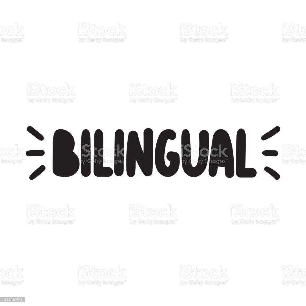 Bilingual. Vector hand drawn word, lettering, illustration on white background. vector art illustration