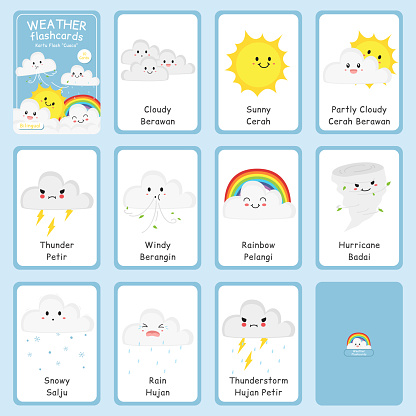 Bilingual Weather Professions Flashcards Vector Set