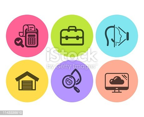 Bill accounting, Parking garage and Portfolio icons simple set. Water analysis, Face id and Cloud storage signs. Audit report, Car place. Technology set. Flat bill accounting icon. Circle button
