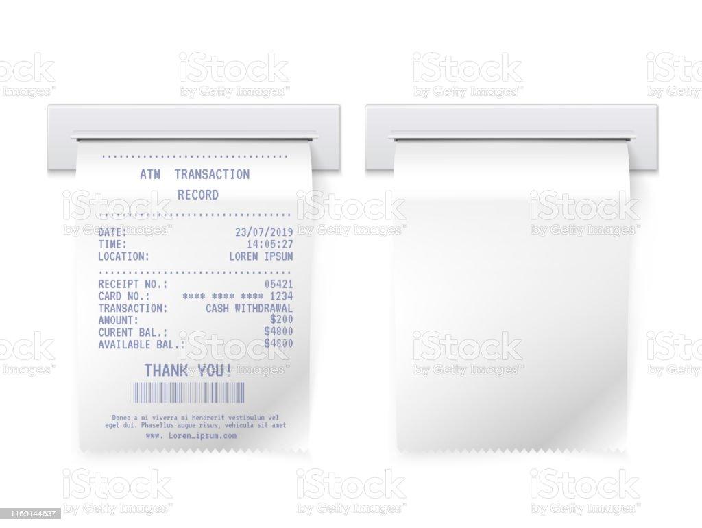 ATM-Rechnung in Slot Vektor realistische Illustrationen gesetzt - Lizenzfrei Addierrolle Vektorgrafik