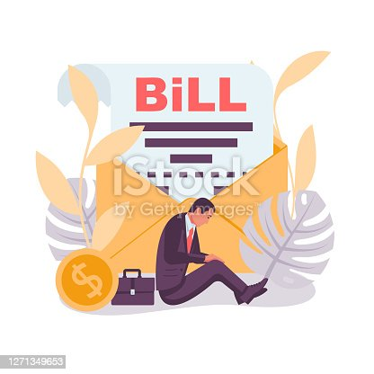 Bill landing page. Sad businessman sits with an invoice in an envelope. Vector illustration flat design. Report finance, expenses.