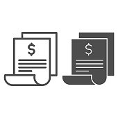 istock Bill line and solid icon, shopping concept, paper sheet with dollar sign on white background, Invoice or banking transaction receipt symbol in outline style for mobile and web design. Vector graphics. 1251622359