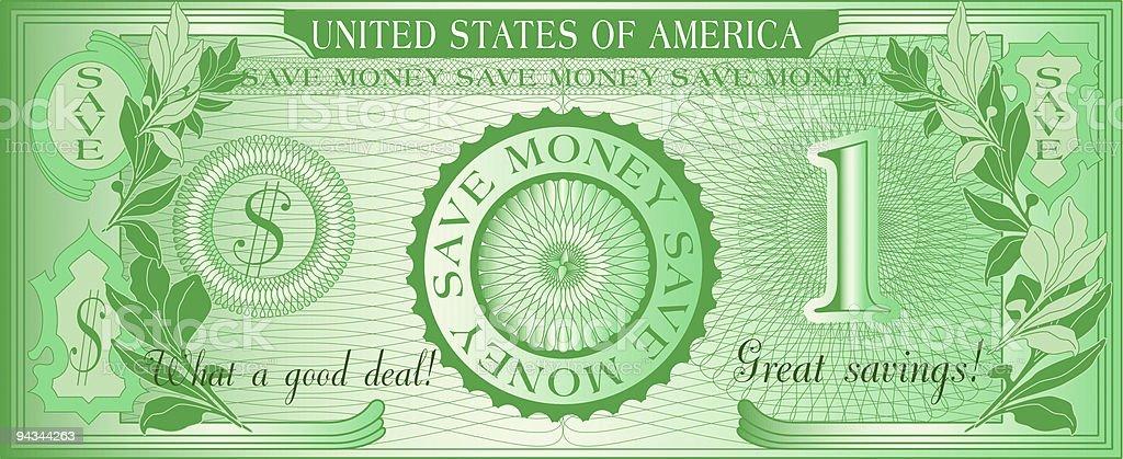 Bill of american Save Money Dollar vector art illustration
