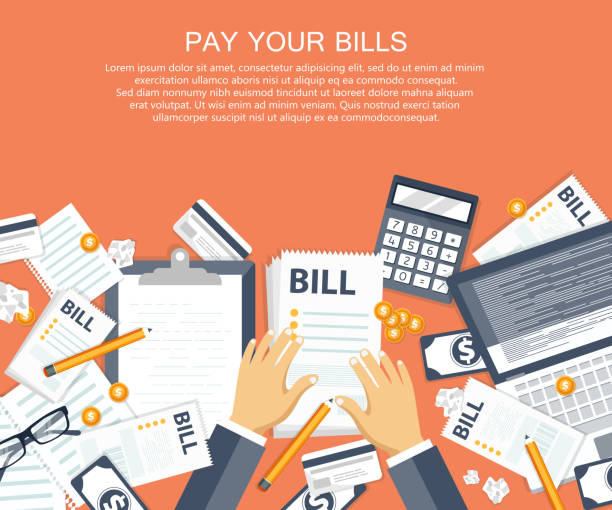bill payment design in flat style. paying bills concept. office desk with bills and office equipment. flat vector illustration - dollar bill stock illustrations