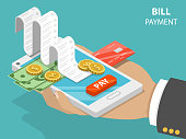 Bill payment flat isometric vector concept.