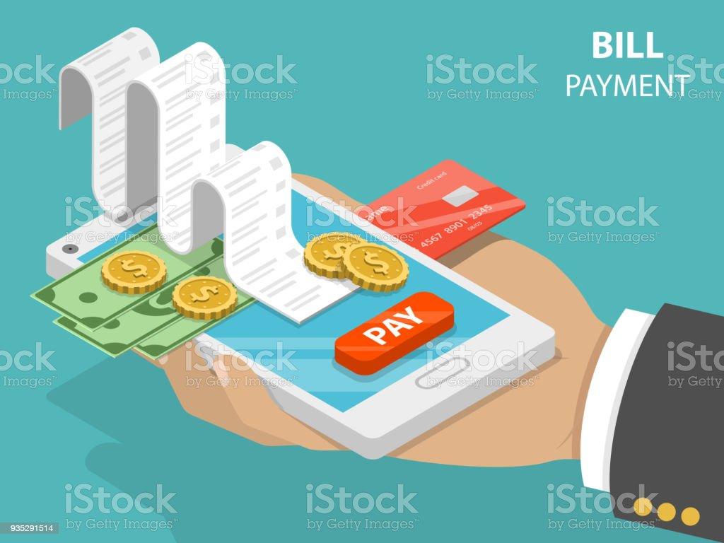 Bill payment flat isometric vector concept. vector art illustration