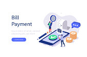 People Characters paying Bill on Smartphone. Woman and Man Characters checking Online Receipt or Invoice. Online Banking Technology and Mobile Payment Concept. Flat Isometric Vector Illustration.