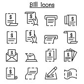 bill, receipt, invoice, contract icon set in thin line style